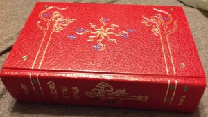 The beautiful leather-bound copy I am currently reading aloud to my son.