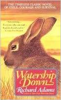 book cover of Watership Down showing a rabbit in a golden field