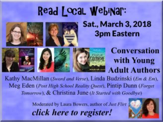 The MD/DE/WV Region is pleased to host a FREE webinar, open to everyone, featuring young adult authors Kathy MacMillan, Linda Budzinski, Meg Eden, Pintip Dunn, and Christina June! This webinar is presented as part of the Read Local Challenge, which gives you the chance to win prizes by reading books by featured authors from Maryland, Delaware, Washington, D.C., and Virginia!