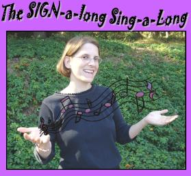 Photo of Kathy MacMillan with musical notes coming out of ehr hands